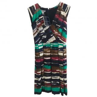 Oscar de la Renta abstract-print sleeveless pleated dress
