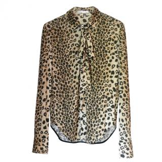 Chloe tie-neck leopard-print shirt