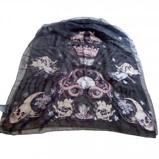 Alexander McQueen skull horn-print silk scarf