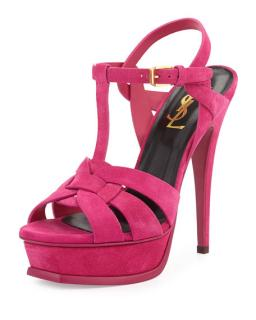 Saint Laurent Pink Suede Tribute Sandals