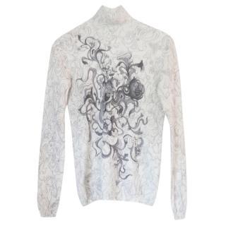 Prada floral-print high-neck top