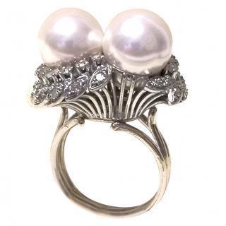 Bespoke Pearl & Diamond White Gold Ring