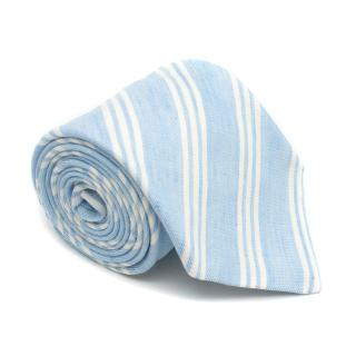 Anderson & Sheppard Blue & White Striped Linen Tie