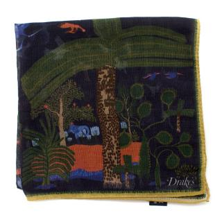 Drake's Nature Print Cashmere Blend Pocket Square