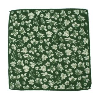 Roda Green Floral Print Wool & Silk Pocket Square