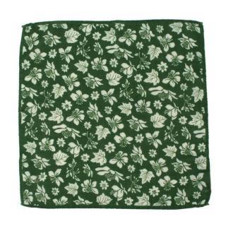 Roda Green Floral Print Wool & Silk Pocket Square