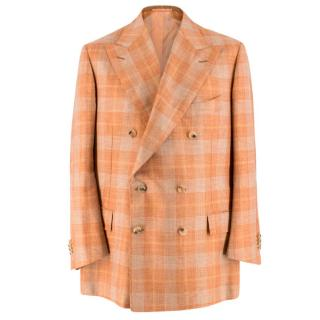 Cesare Attolini Bespoke Orange Checkered Suit Jacket