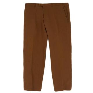 Principe di Firenze Brown Linen Trousers