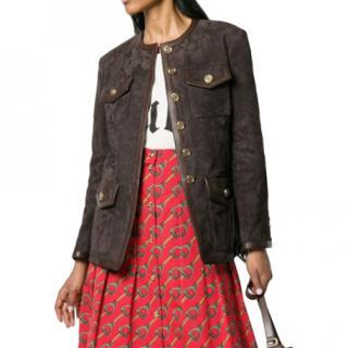 Gucci multi-pocket suede jacket