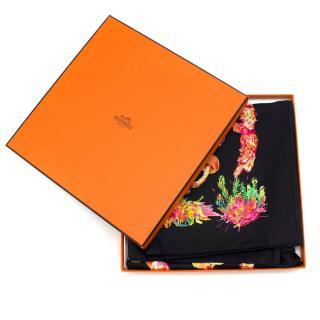 Hermes Black 'Champignons' Silk Scarf