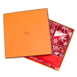 Hermes Red 'Edelweiss' Silk Scarf 90