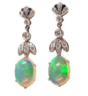Luke Stockley 18ct Gold Set Opal, Diamond & Sapphire Earrings