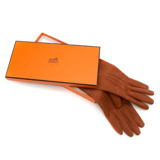 Hermes Rustic Brown Leather & Suede Gloves