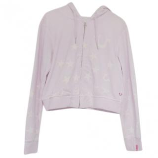 True Religion Lilac Star Print Zip-Hoodie