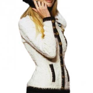 Chanel Vintage Black & White Tweed Boucle Cardigan