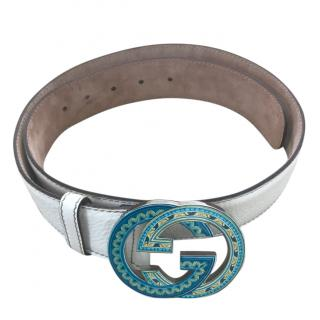 Gucci Off  White Leather Blue GG Buckle Belt