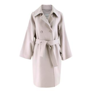Maxmara Light Grey Angora & Wool Blend Belted Coat