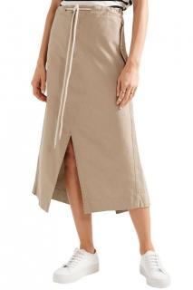 Bassike biege cotton midi skirt