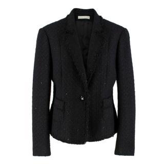 Louise Kennedy Black Sequin Tweed Jacket