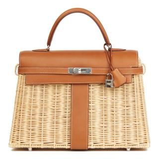 Hermes Wicker Barenia Picnic Kelly Bag 35cm