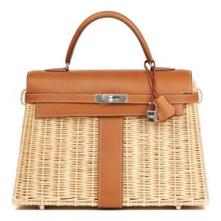 Hermes Wicker Barenia Picnic Kelly Bag 35cm
