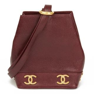 Chanel Vintage Caviar Leather Plum Bucket Bag