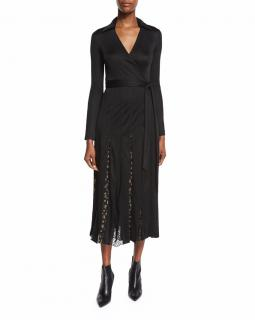 Diane Von Furstenberg Stevie Black Laced Wrap Dress