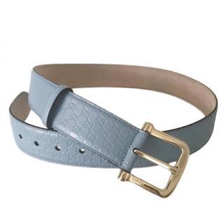 Gucci sky blue leather GG Belt