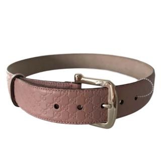Gucci pink leather GG belt