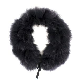 Salvatore Ferragamo Dark Grey Fox Fur Collar