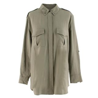 Equipment Femme Khaki Green Silk Shirt