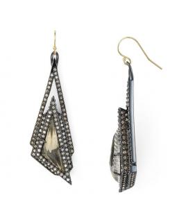 Alexis Bittar Crystal Stepped Triangle Drop Earrings.