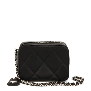 Chanel Quilted-Satin Mini Timeless Wristlet Bag