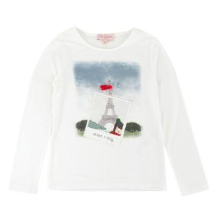 Lili Gaufrette Girls 6Y White Paris Theme Top