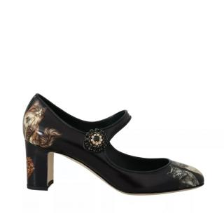 Dolce & Gabbana cats-print leather Mary Jane pumps