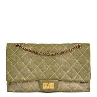Chanel Metallic Khaki Denim Reissue 2.55 Double Flap Bag