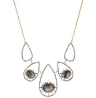 Alexis Bittar Metallic Mother Of Pearl Doublet Encrusted Bib Necklace