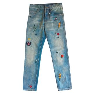 Gucci embroidered blue skinny jeans