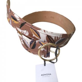 Agnona tan floral printed leather belt