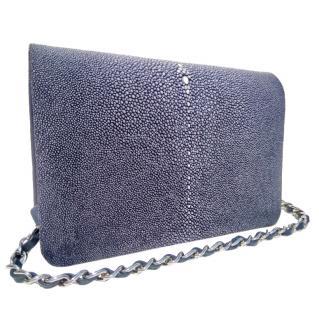 Sapphire blue stingray shoulder bag
