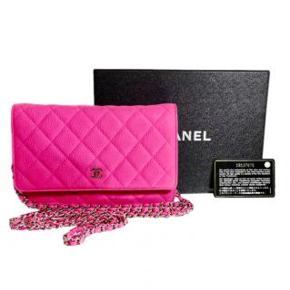 Chanel Pink Caviar Leather Wallet On Chain