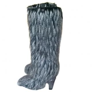 Chanel Faux Fur Lucite Icicle Fantasy Long Boots