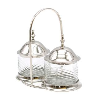 Alidad Twin Cut Glass Silver Plated Condiment Holder