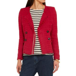 Isabel Marant Etoile red collarless cotton blend jacket