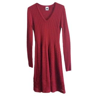 M Missoni Plum Red Knit Fit and Flare Dress