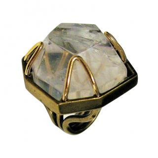 8d5e08a1fa8a Lanvin Faceted Crystal Gold Plated Ring