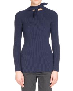 Balenciaga Ribbed Knit Scarf-Tie Sweater