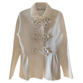 Valentino Cream Wool/Cotton Toggle Front Cardigan