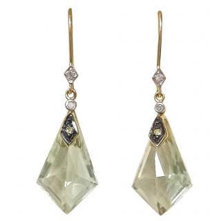 Bespoke diamond and green quartz drop earrings