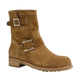 Jimmy Choo tan brown suede biker boots